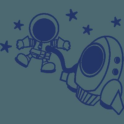 Pegatina Infantil En Vinilo Con Nave Espacial Y Astronauta