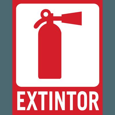 Señal adhesiva de vinilo para extintor