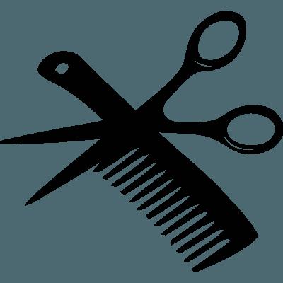 Vinilo para peluquería con peine y tijeras