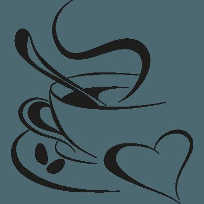 vinilo para cafeter a con dibujo taza caf. Black Bedroom Furniture Sets. Home Design Ideas